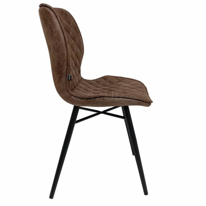 The-one-b-chaise-tissu-marron-fonce-pietement-metal-by-Azur-Mobilier (2)