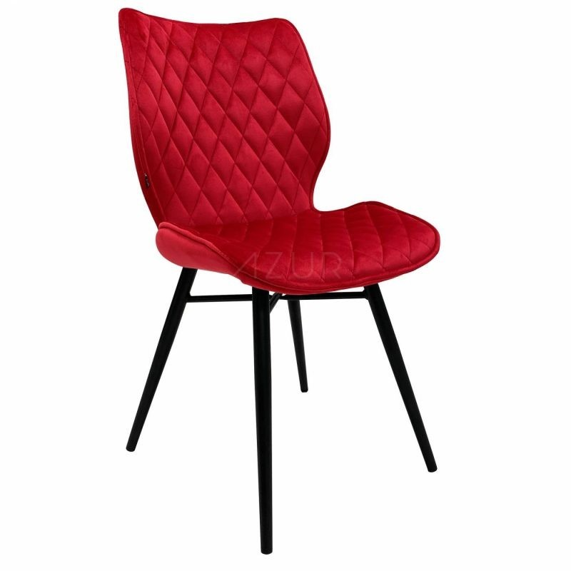The-one-chaise-velours-rouge-pietement-metal-by-Azur-Mobilier (2)