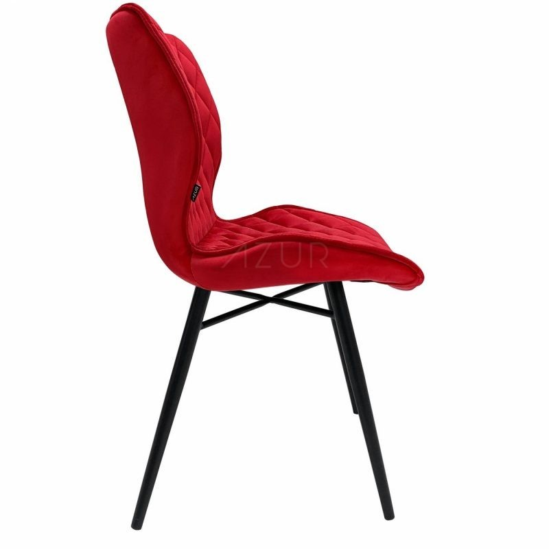 The-one-chaise-velours-rouge-pietement-metal-by-Azur-Mobilier (4)